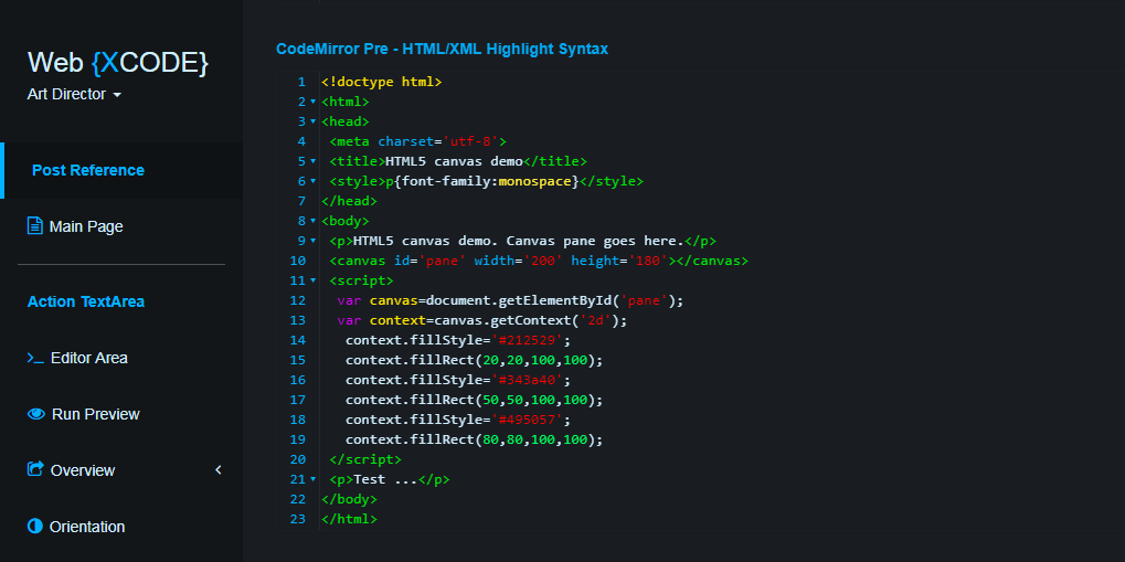 webxcode - CodeMirror Syntax-Highlighting