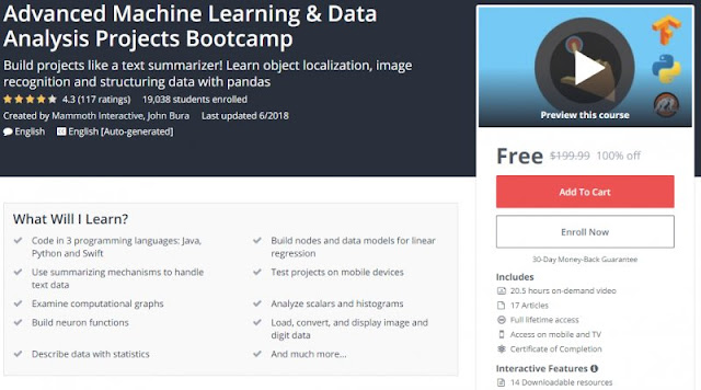 [100% Off] Advanced Machine Learning & Data Analysis Projects Bootcamp| Worth 199,99$