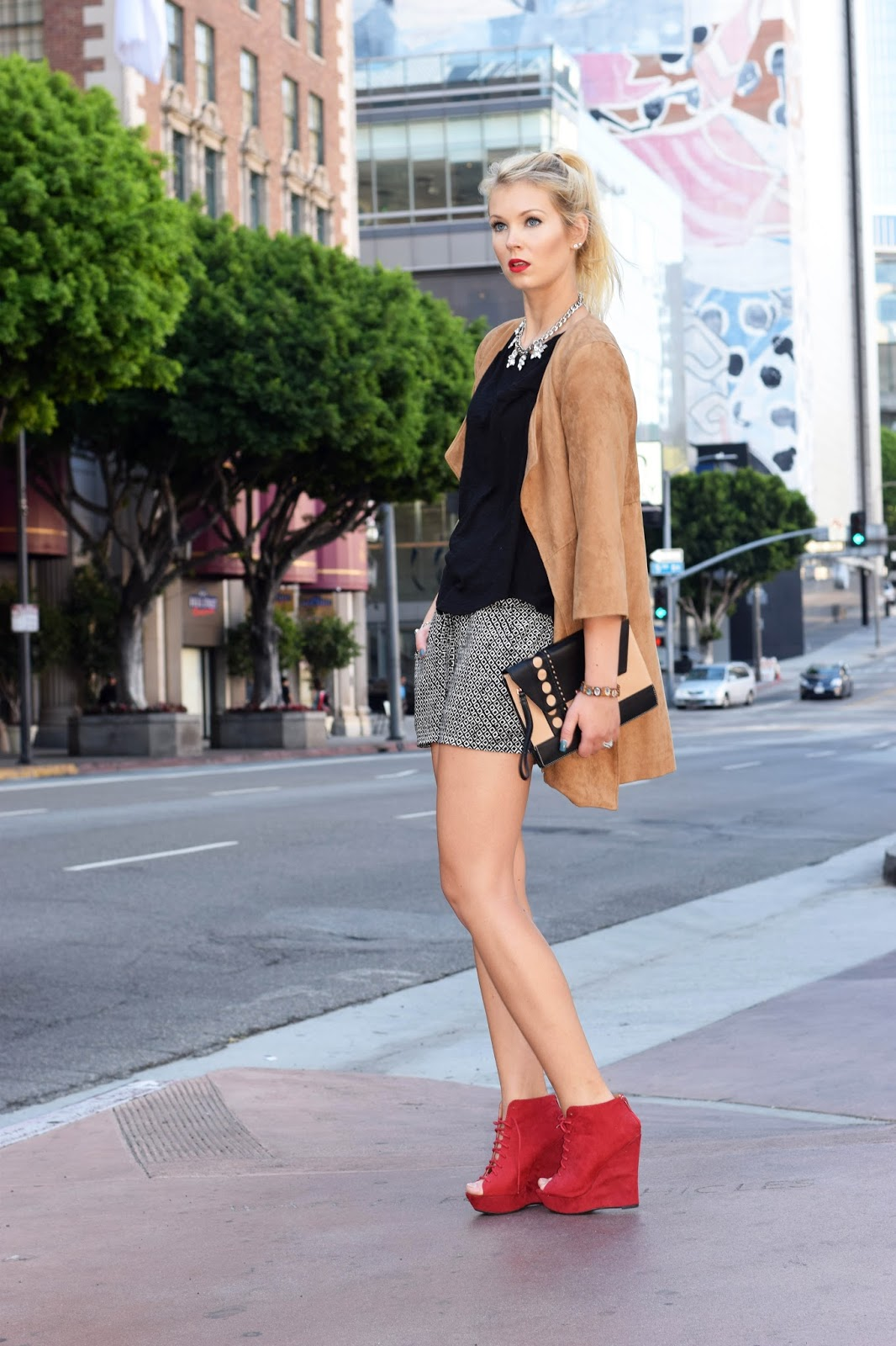 bebop clothes, bebop clothing, red heels, shorts, loose shorts, how to wear loose fitted pants, red lipstick, suede jacket