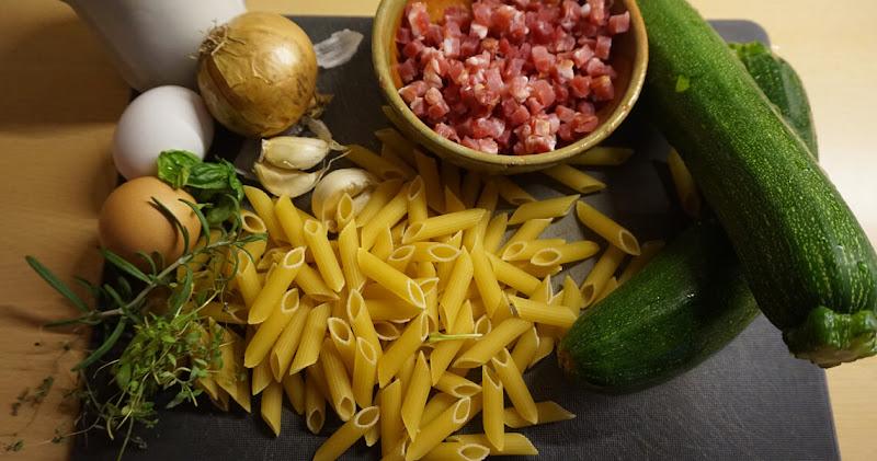 Penne mit Zucchini-Carbonara | Zutaten