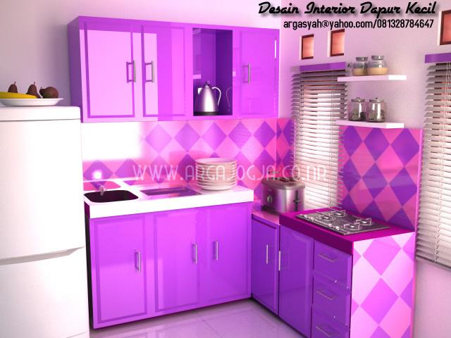 Dekorasi Kabinet Dapur Berwarna Purple