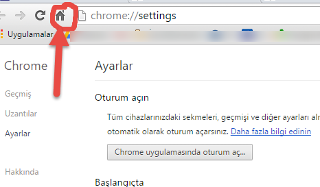 Chrome Anasayfa Butonu Ekleme Resimli Anlatım