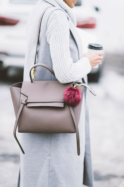 Hello Fashion - Celine Bag, Grey Vest, White Knit