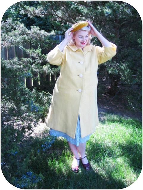 1960s yellow winter coat and yellow hat plus size retro fashion via Va-Voom Vintage