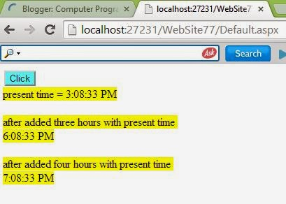 How to add Hours in existing time in ASP.NET