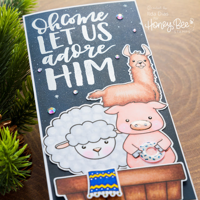 Honey Bee Friends Adore Him | Christmas Nativity Scene Card by ilovedoingallthingscrafty.com