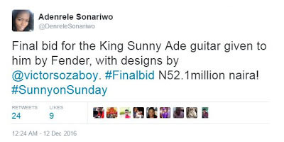 Sunny Ade's guitar sold for N52m during exhibition (photos)