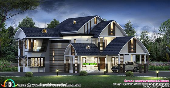 Unique roof ultra modern home plan with 5 bedrooms