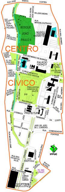 Mapa do centro Cívico - Curitiba