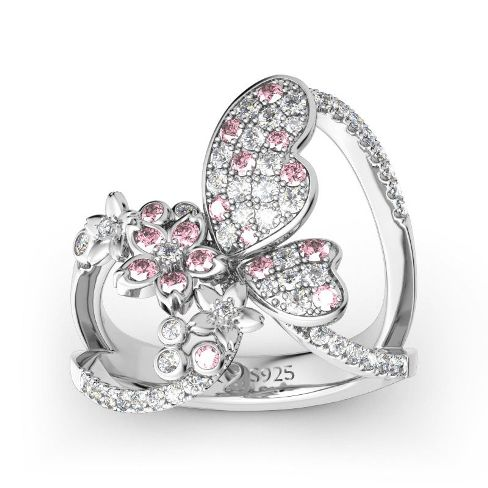 Flower and Butterfly Sterling Silver Ring – Price :$125.00