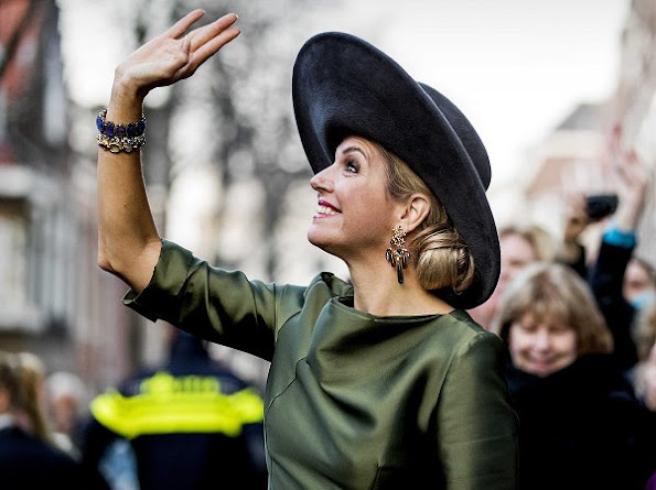Queen Maxima wore Natan dress and Gianvito Rossi Suede Pumps, Ole Lynggaard Copenhagen Earrings