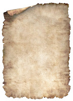 Kenarları yırtılmış ve yanmış eski parşömen ya da Bergama kağıdı