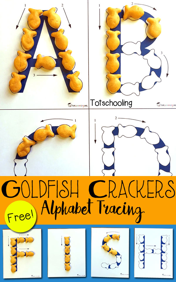 photograph about Printable Letter named Goldfish Crackers Alphabet Tracing Totschooling - Infant