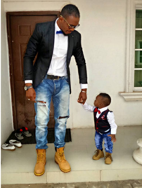 Actor Junior Pope and his son step out in matching outfits
