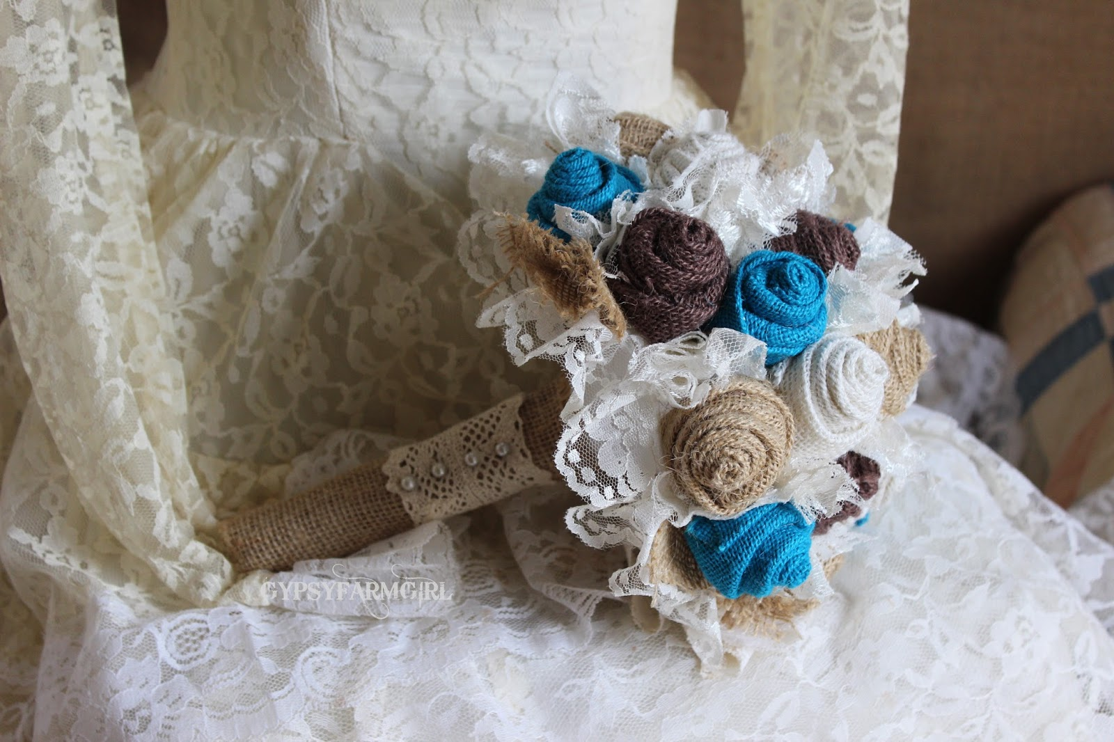 rustic burlap wedding bouquet