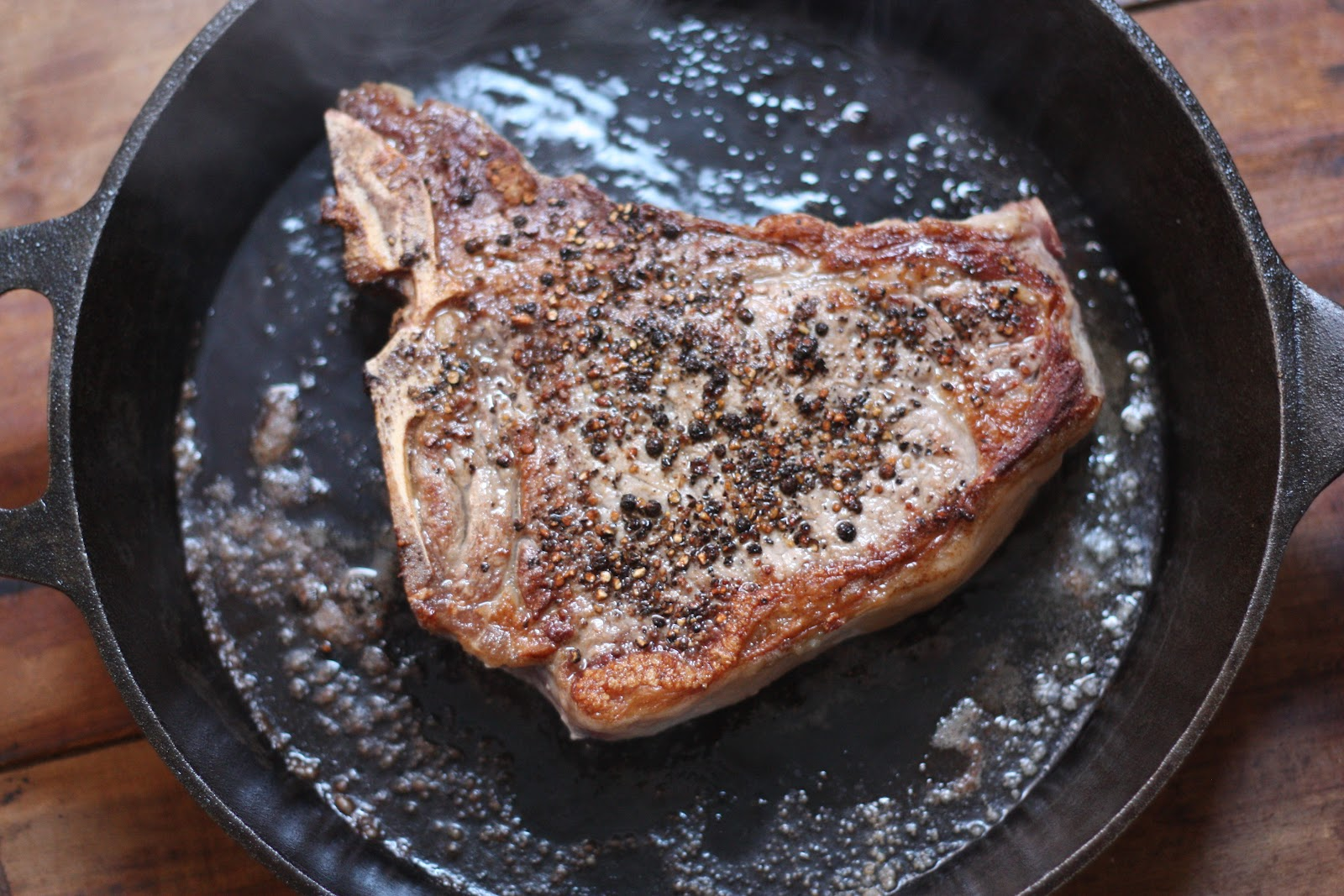 E a T Iron Skillet Steak With Thyme Butter