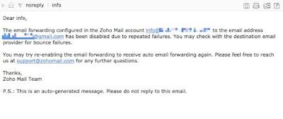 Zoho Mail Error
