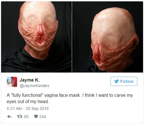 MUST SEE: This Vagina Halloween Vagina Face Mask Will Give You Goosebumps!
