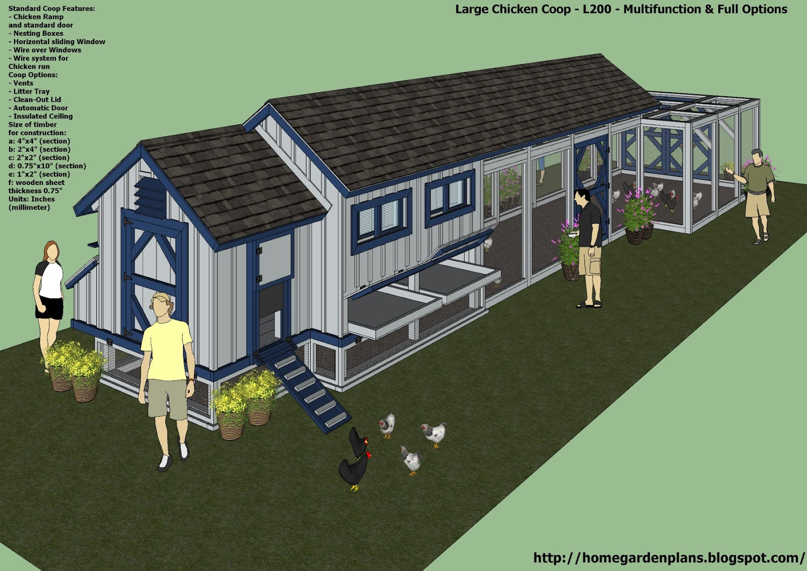 home garden plans: L200 - Large Chicken Coop Plans - How ...