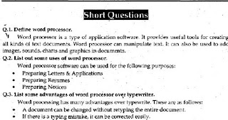 1st Year Computer Chapter 8 Short Questions pdf - ICS Part 1