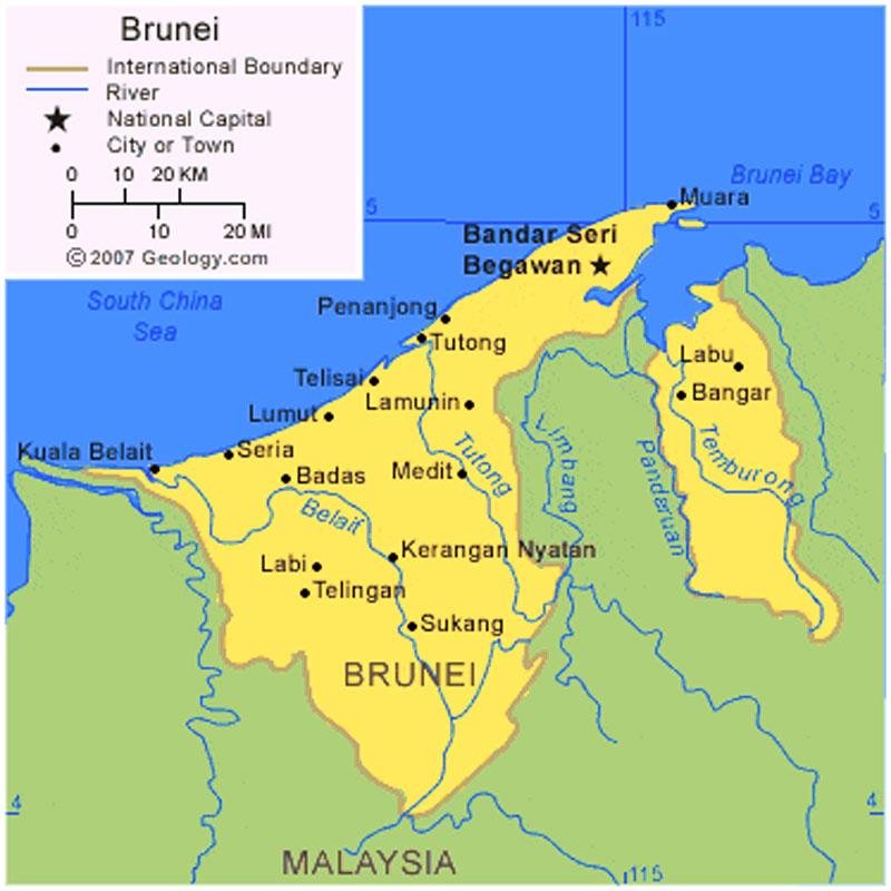 Peta Negara Brunei Web Sejarah Wilayah Hd Gambar