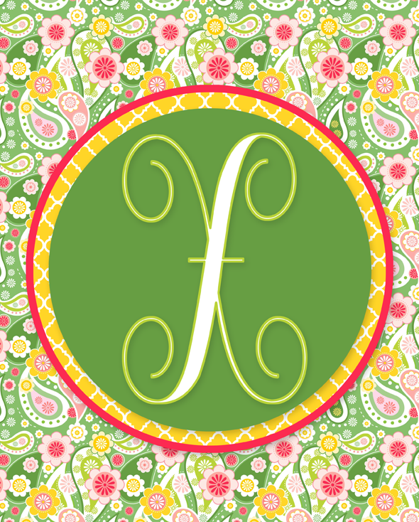 Lilly Pulitzer-Inspired Spring Monogram Printables | Letters A-Z Available in 8x10 Instant Downloads