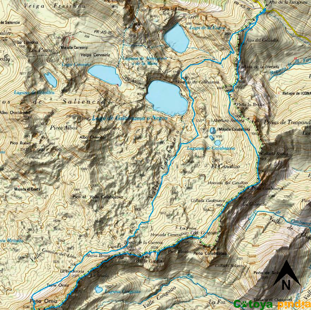 Mapa de la ruta en el Parque Natural de Somiedo,