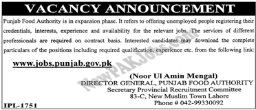 Latest Jobs Announced in Punjab Food Authority, Punjab Jobs Online Portal