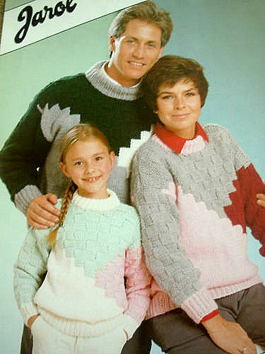 1980s Jarol knitting pattern - family sweaters