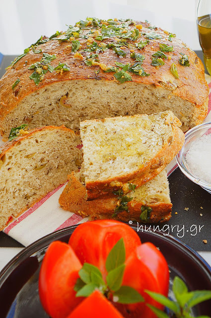 No Knead Skillet Olive Bread with Aromatics Herbs