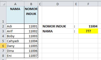 Contoh Soal Rumus Excel VLOOKUP ke Kiri