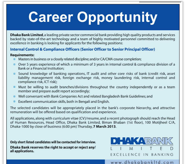 Career at Dhaka Bank Ltd