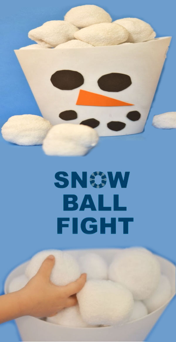 WINTER GAME FOR KIDS: Have an indoor snowball fight! #wintergamesforkids #winterpartygames #indoorsnowballs #indoorsnowballfight #indoorsnowballfightkitdiy #snowplay #indoorsnow #wintergames