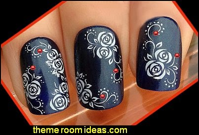 WHITE ROSES FLOWERS SWIRLS NAIL ART WRAP WATER TRANSFER DECALS STICKERS