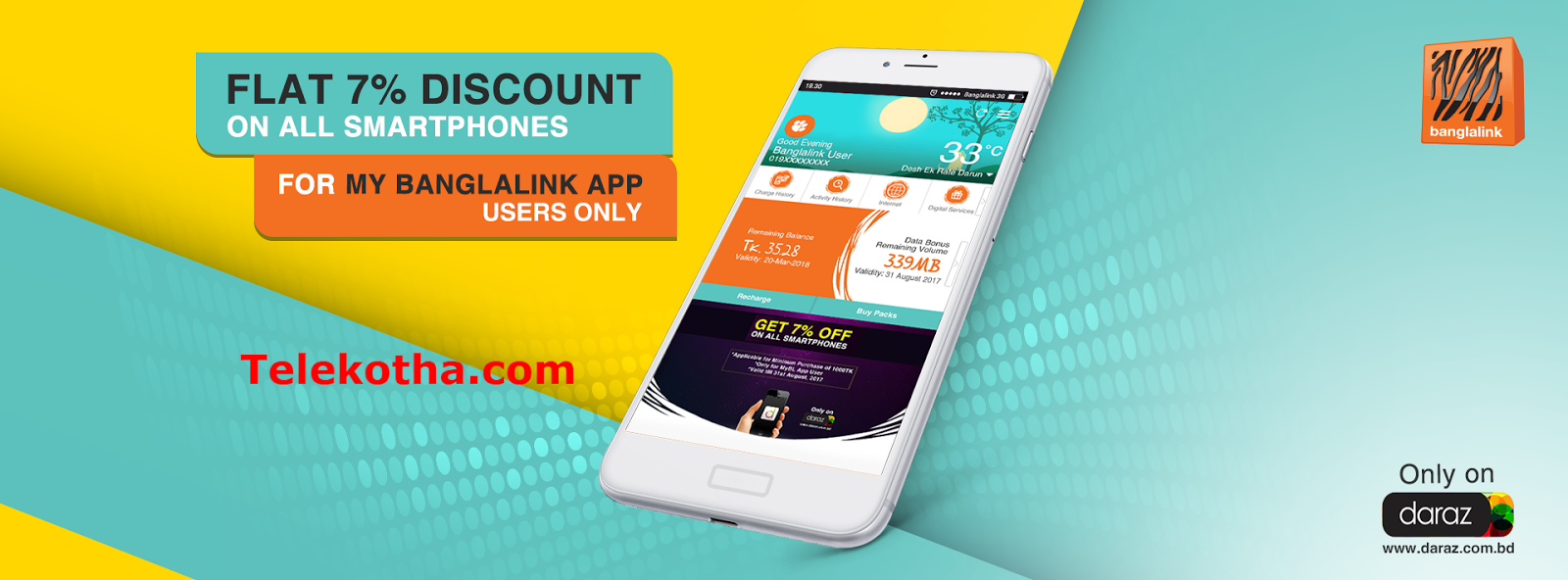 Banglalink App-Daraz Discount Offers on Smartphones
