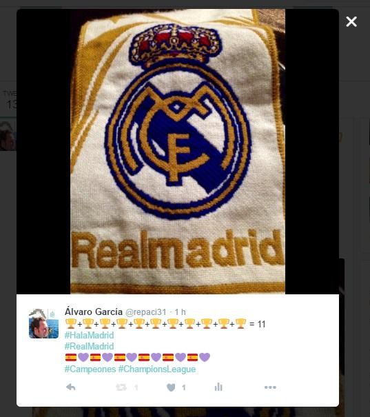 Real Madrid Campeón de Europa por 11ª vez - San Siro - Real Madrid 1-1 Atlético de Madrid - Foto vía @repaci31 en Twitter (yo) - Álvaro García - ÁlvaroGP - el troblogdita