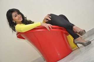 Actress Nikki Galrani Latest Picture Gallery in Yellow Top and Tights  0061.jpg