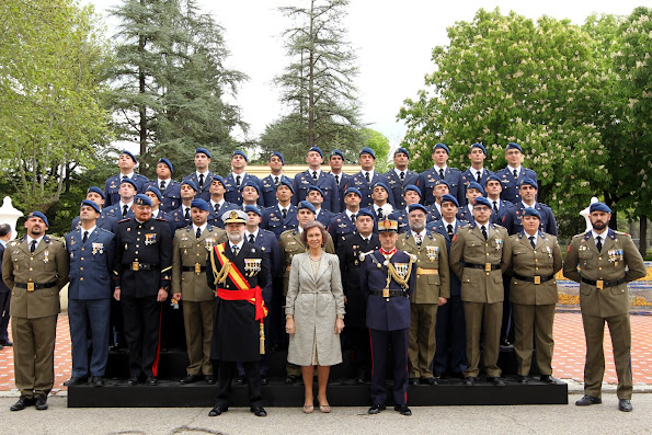Queen Sofia of Spain attends the Oath of Allegiance of the Civil People at El Pardo Palace dress, jewelery, jewels