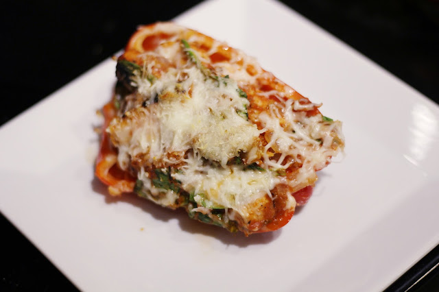 how to make cook cooking baking diy tutorial weight watchers recipe smart points low carb low calorie low points easy dinner quick meal healthy gluten free stuffed bell peppers chicken parmesan spinach mozzarella marinara italian tuscan asiago