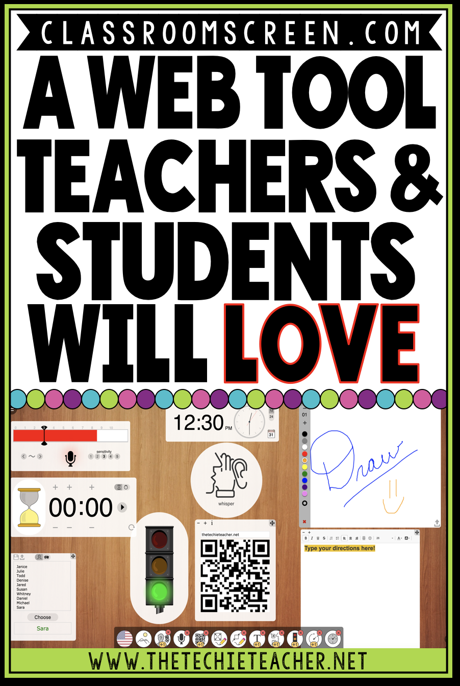 Classroomscreen.com: A Web Tool Teachers and Students will LOVE. Easy way to turn your browser into an interactive board. Digital stoplight, timer, calendar, random name picker, drawing tools, work symbols, text area, QR generator and more are all tools included in this free web tool.