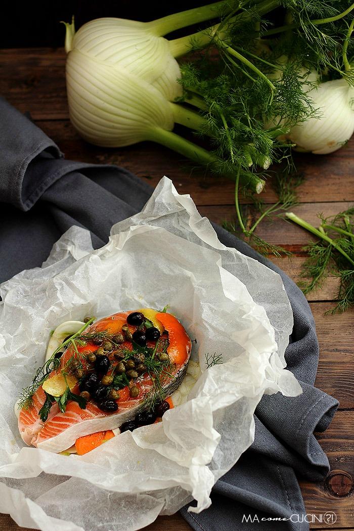 salmone con finocchi al cartoccio
