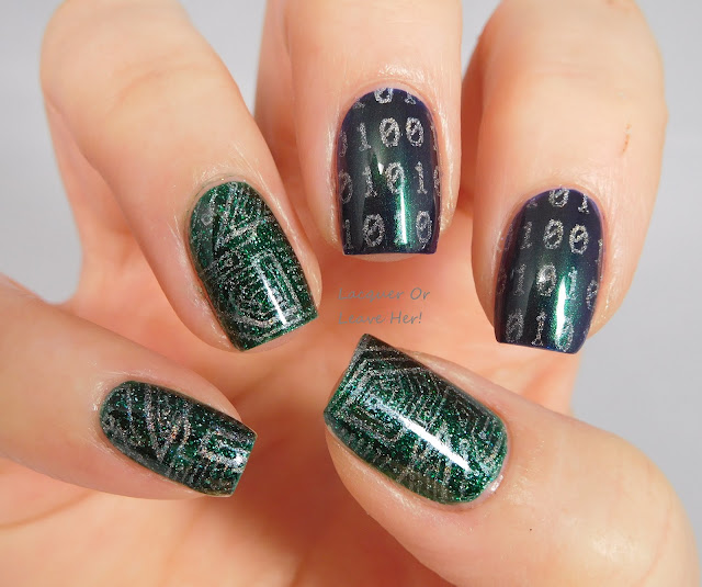 Hit The Bottle Polish Holo There Beautiful over Zoya Merida and Olivera, stamped with Lina Nail Art Supplies Hipster, Chic, or Geek? plate