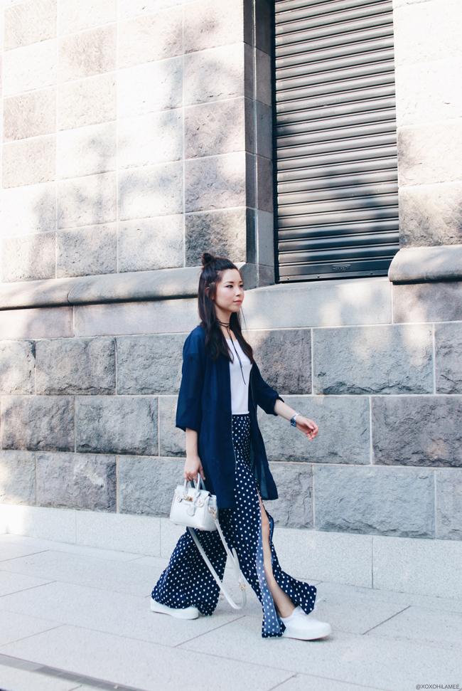 ファッションブロガー日本人、ミズホK、今日のコーデ、jouetieロングMA-1、Yoinsポルカドットワイドパンツ、ホワイトクロップTシャツ、チョーカー、LOWRYS FARMホワイト厚底スニーカー、シルバーハンドバッグ、スポーティーカジュアルコーデ