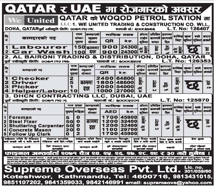 Qatar and UAE को लागि विभिन्न ११ आकर्षक रोजगारीको अवसर हरु  Checker, Driver, Picker, Foreman, Steel fixer, Shuttering Carpenter, Concrete Mason, Follow Up Clerk, Labourer, Car Wash