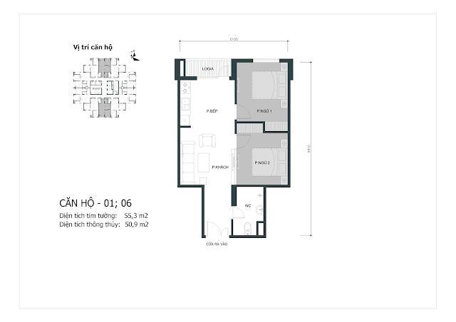 Thiết kế căn hộ số 01-06 (dt thông thủy 50,9m2)