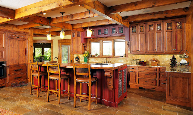 rustic kitchen ideas with traditional kitchen island and l shaped wood kitchen cabinet