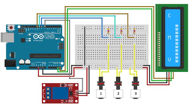 Arduino Uno - LCD 16x2 e Sensor de nivel de água módulo relé