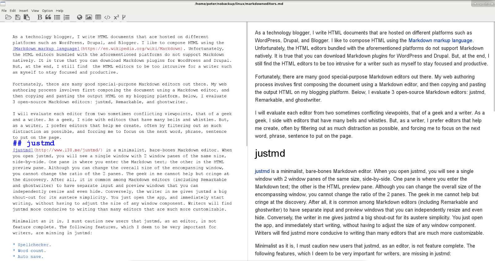 Linux Commando: A review of 3 best-of-breed Markdown editors
