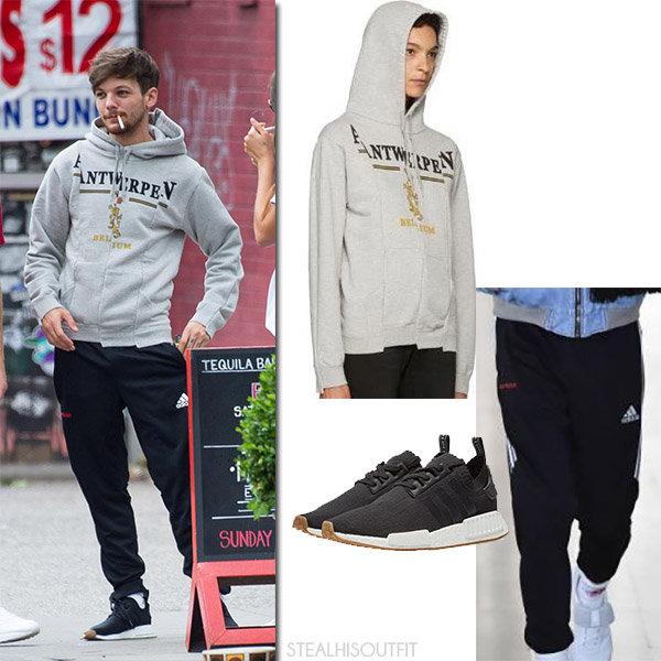 Louis Tomlinson in grey hoodie vetements and black track pants gosha rubchinskiy july 2017 fashion for men
