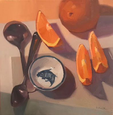 still life oranges sarah sedwick oil painting